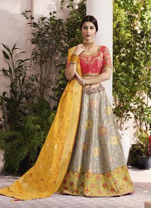 Wedding Wear Grey Jacquard Silk Thread Embroidery Work Lehenga Choli