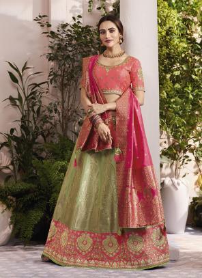 Wedding Wear Light Green Jacquard Silk Thread Embroidery Work Lehenga Choli