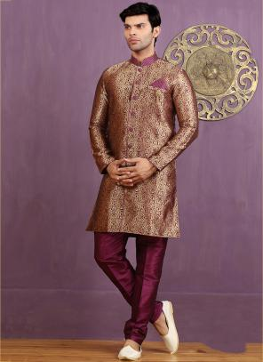 Wedding Wear Magenta Jacquard Embroidered Work Sherwani
