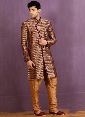 Wedding Wear Maroon Jacquard Embroidered Work Sherwani