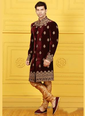 Wedding Wear Maroon Velvet Embroidered Work Sherwani