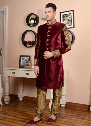 Wedding Wear Maroon Velvet Embroidery Work Sherwani