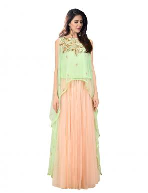 Wedding Wear Mint Green Net Zardosi Work Prathyusha Garimella Designer Crop Top With Skirt