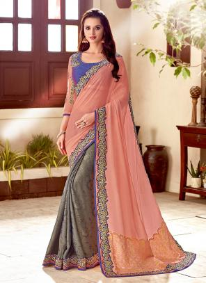 Wedding Wear Multi Color Silk Embroidery Work Saree