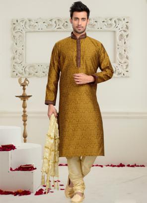Wedding Wear Mustard Art Silk Embroidered Work Churidar Sherwani