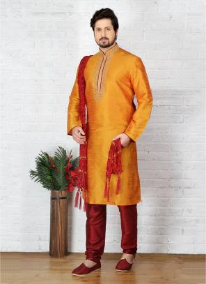 Wedding Wear Mustard Art Silk Embroidery Work Sherwani Style