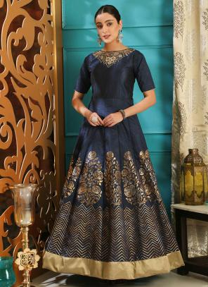 Wedding Wear Navy Blue Silk Cutdana Work Gown