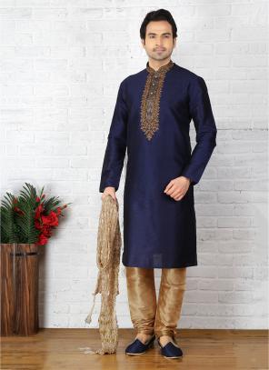 Wedding Wear Neavy Blue And Gold Art Silk Embroidery Work Sherwani Style
