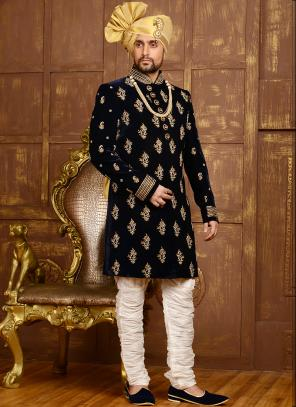 Wedding Wear Neavy Blue Velvet Heavy Embroidery Work Sherwani