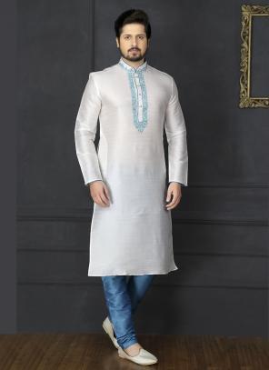 Wedding Wear Off White And Blue Art Silk Embroidery Work Sherwani Style