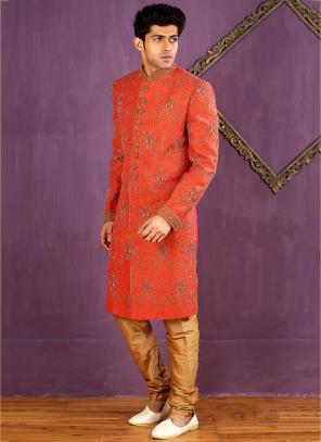 Wedding Wear Orange Banarasi Silk Embroidered Work Sherwani