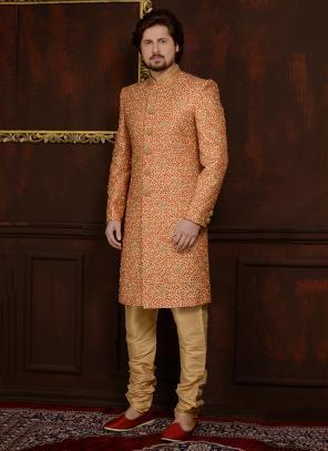 Wedding Wear Orange Silk Embroidery Work Sherwani Style