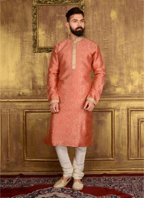 Wedding Wear Peach Jacqaurd Silk Lace Work Kurta Pajama