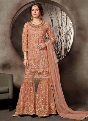 Wedding Wear Peach Net Heavy Embroidery Work Sharara Suit