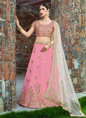 Wedding Wear Pink Art Silk Embroidery Work Lehenga Choli