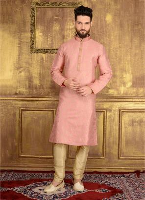 Wedding Wear Pink Jacqaurd Silk Lace Work Kurta Pajama