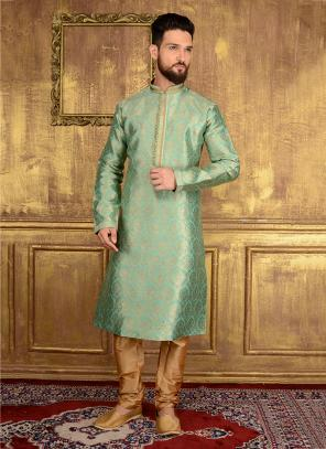Wedding Wear Pista Green Jacqaurd Silk Lace Work Kurta Pajama