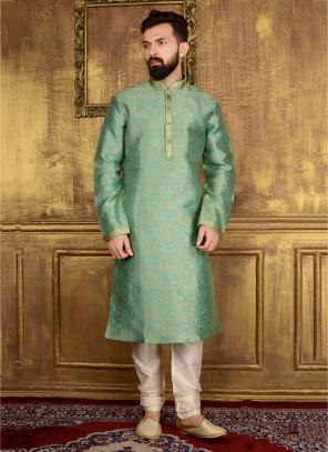 Wedding Wear Pista Green Jacqaurd Silk Lace Work Kurta Pajama