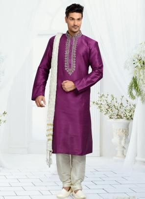 Wedding Wear Purple Art Silk Embroidered Work Churidar Sherwani