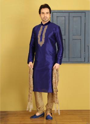 Wedding Wear Art Silk Purple Embroidery Work Sherwani Style