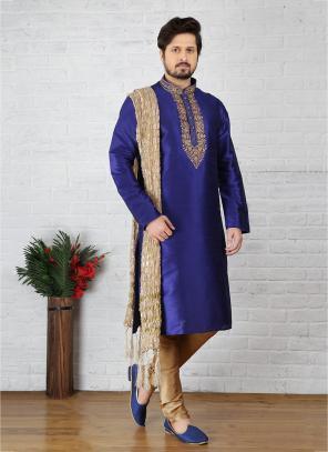 Wedding Wear Royal Blue Art Silk Embroidery Work Sherwani