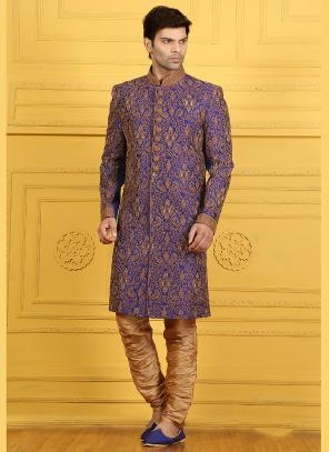 Wedding Wear Purple Banarasi Silk Embroidered Work Sherwani