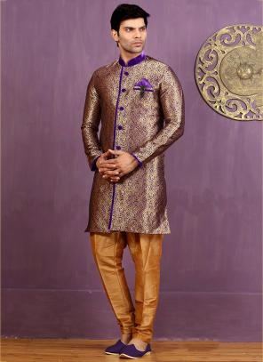 Wedding Wear Purple Jacquard Embroidered Work Sherwani