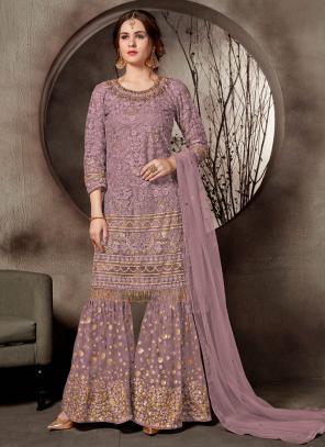 Wedding Wear Purple Net Heavy Embroidery Work Sharara Suit