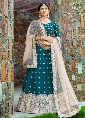 Wedding Wear Rama Art Silk Embroidery Work Lehenga Choli
