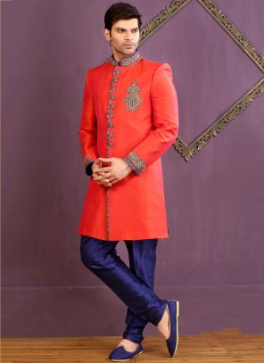 Wedding Wear Red Banarasi Silk Embroidered Work Sherwani