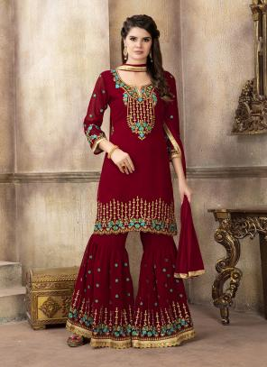 Wedding Wear Red Faux Georgette Embroidery Work Sharara Salwar Suit