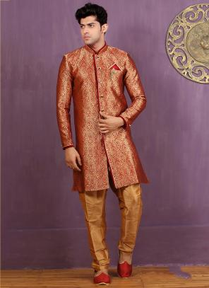Wedding Wear Red Jacquard Embroidered Work Sherwani