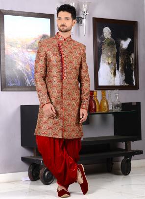 Wedding Wear Red Jacquard Silk Embroidery Work Sherwani