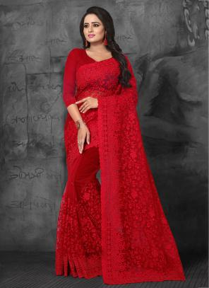 Wedding Wear Red Net Embroidery Work Saree