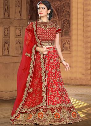 Wedding Wear Red Silk Heavy Embroidery Work Lehenga Choli