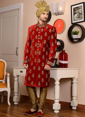 Wedding Wear Red Velvet Embroidery Work Sherwani
