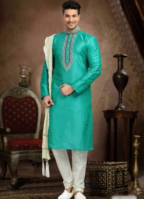 Wedding Wear Sky Blue Art Silk Embroidered Work Churidar Sherwani