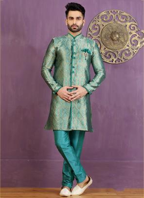 Wedding Wear Sky Blue Jacquard Embroidered Work Sherwani