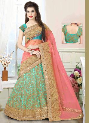 Wedding Wear Sky Blue Net Embroidered Work Lehenga Choli