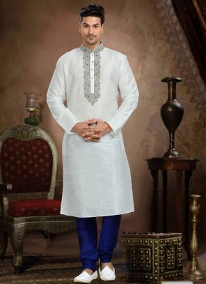 Wedding Wear White Dhupion Embroidered Work Churidar Sherwani