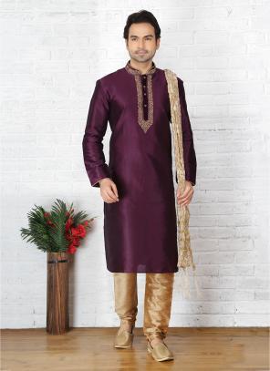 Wedding Wear Wine Art Silk Embroidery Work Sherwani Style