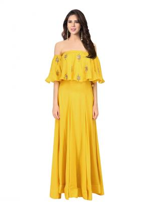 Wedding Wear Yellow Crepe Embroidery Work Prathyusha Garimella Off Shoulder Top With Skirt