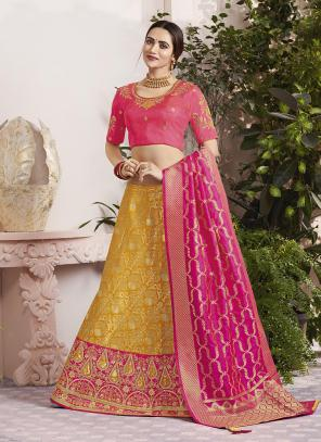 Wedding Wear Yellow Jacquard Silk Thread Embroidery Work Lehenga Choli