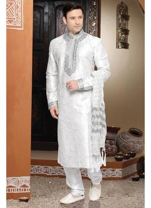 White Wholesale Kurta Pajama With Art Silk Fabric