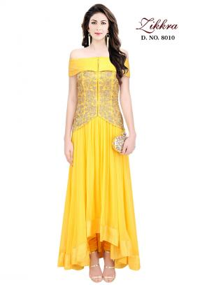 Party Wear Yellow Crepe Embroidered Work Gown