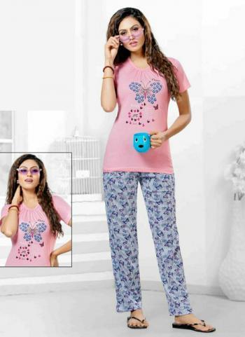 Night Wear Printed Work Pink Cotton Tshirt With Pajama
