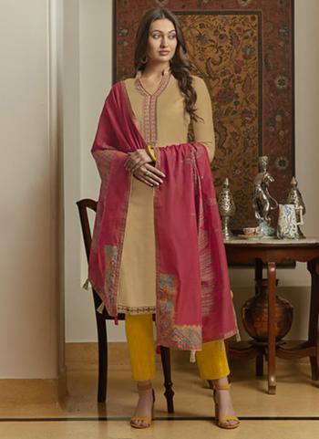 Casual Wear Muslin Embroidery Work Beige Churidar Suit