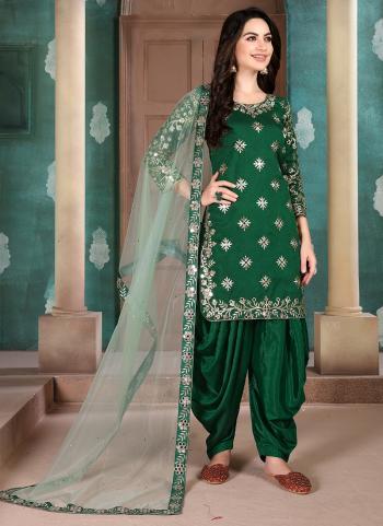 Festival Wear Art Silk Embroidery Work Green Patiala Suit
