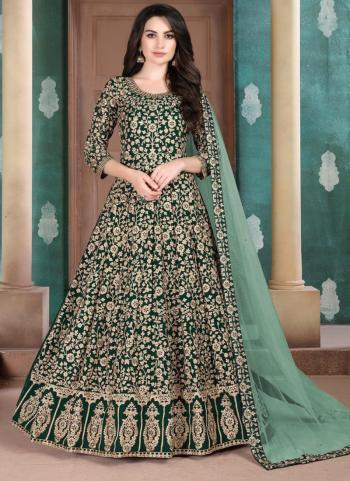 Reception Wear Faux Georgette Embroidery Work Green Anarkali Suit