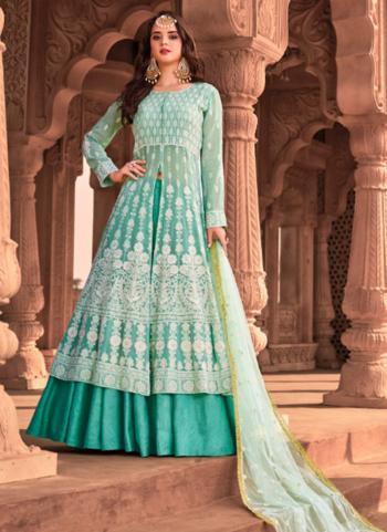 Wedding Wear Viscose Embroidery Work Sky Blue Readymade Anarkali Suit